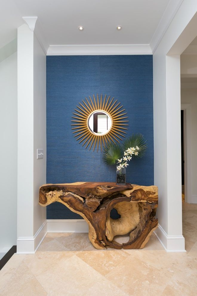 Entry Way Tables   Beach Style Entry Also Blue Accent Wall Blue Grasscloth Wallcovering Driftwood Console Table Round Mirror Starburst Mirror
