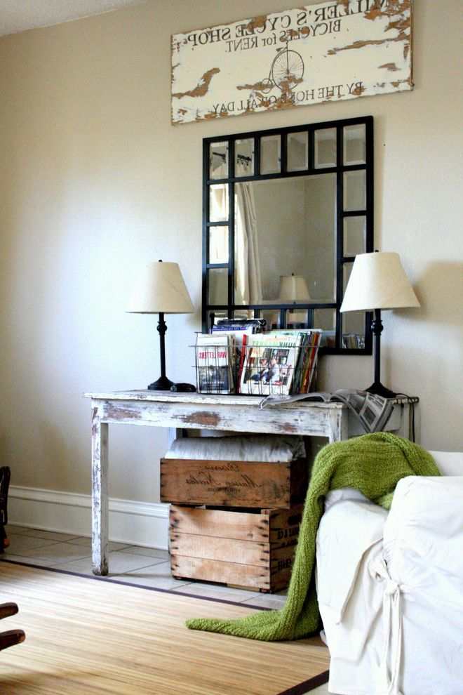 Entry Way Tables with Eclectic Family Room  and Baseboard Console Lamps Metal Basket Mirror Painted Wod Rocker Sign Slipcover Throw Vintage Weathered Wood Wine Crate