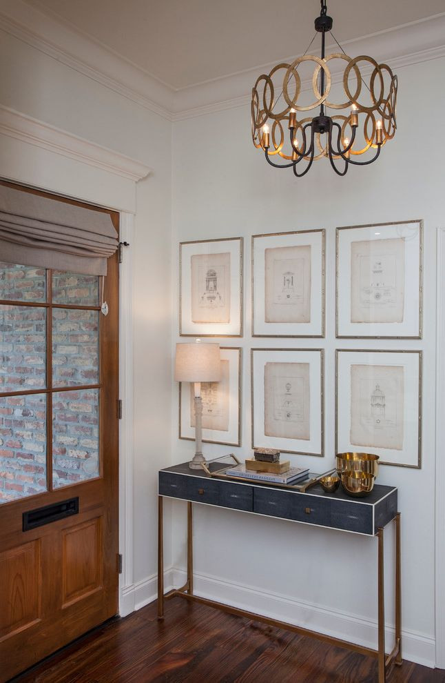 Entry Way Tables with Transitional Entry  and Console Table Entry Console Framed Art Gallery Wall Pendant Light Roman Shade Table Lamp