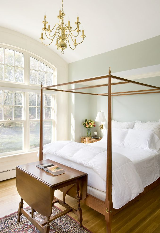 Ethan Allen Portland Maine   Traditional Bedroom Also Alcove Arched Window Area Ruf Barrel Vault Canopy Bed Chandelier Double Hung Windows Four Poster Bed Niche Nook Vaulted Ceiling White Bedding Wood Flooring