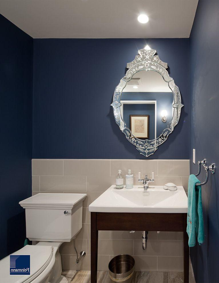 Ethan Allen Portland Maine   Traditional Powder Room  and Bathroom Mirror Ceiling Lighting Dark Walls Navy Blue Walls Recessed Lighting Small Bathroom Towel Bar Venetian Mirror Washstand