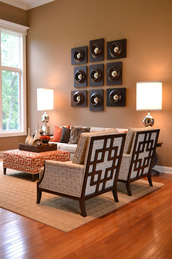 Ethan Allen Portland Maine   Transitional Living Room  and Brown Walls Contemporary Art Upholstered Ottoman White Trim