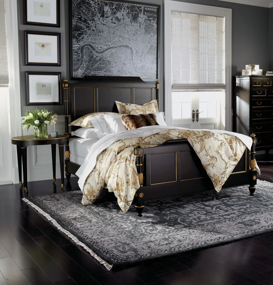 Ethan Allen Portland Maine with Traditional Bedroom Also Black and White Black Bed Frame Black Frames Black Rug Wall Map White Wainscoting
