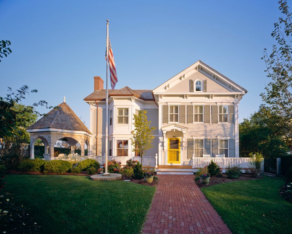 Flag Holder for House   Traditional Exterior  and Arch Bay Window Brick Sidewalk Cape Cod Corbels Curb Appeal Eaves Flag Pole Front Patio Front Walk Garden Gate Gazebo Portico Screen Door Shutters Siding White Picket Fence Yellow Door
