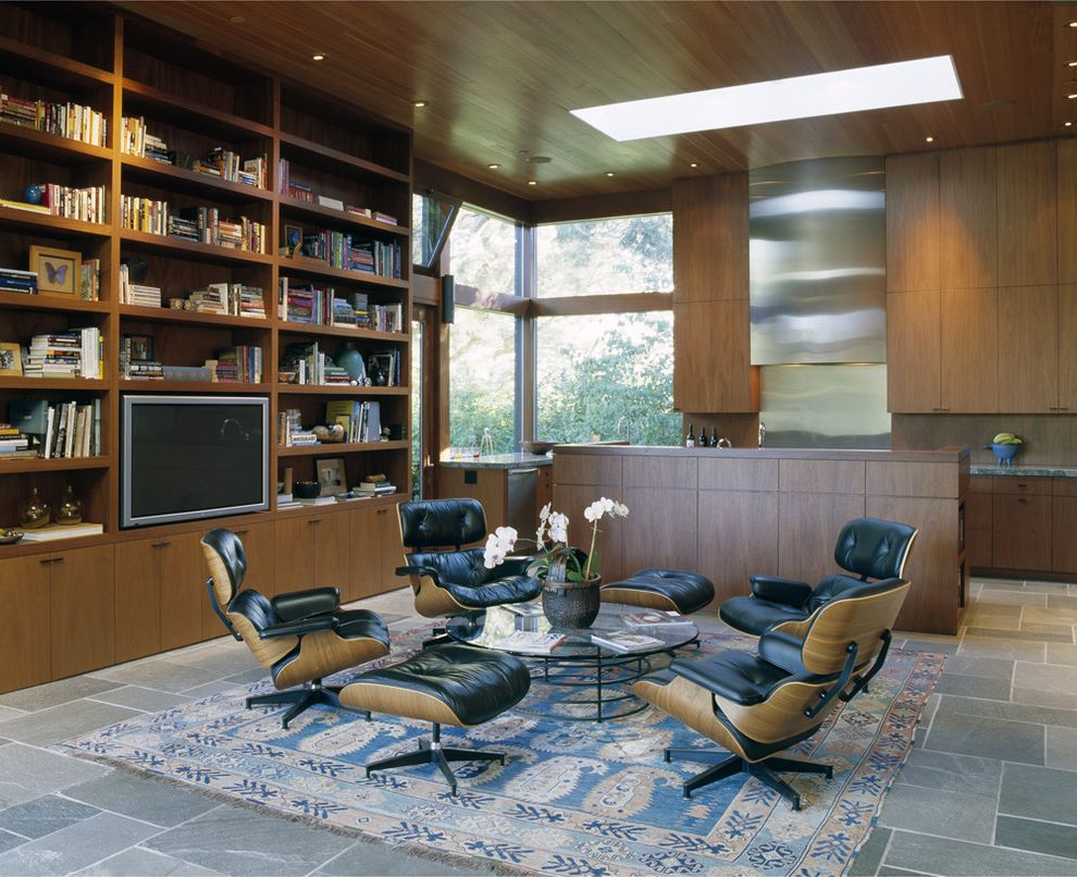 Four Seasons Heating and Cooling Ripoff   Modern Kitchen Also Area Rug Built in Bookshelves Circular Coffee Table Floor to Ceiling Windows Glass Coffee Table Large Tv Lounge Chair Open Layout Ottoman Plant Skylight Stainless Steel Tile Floor