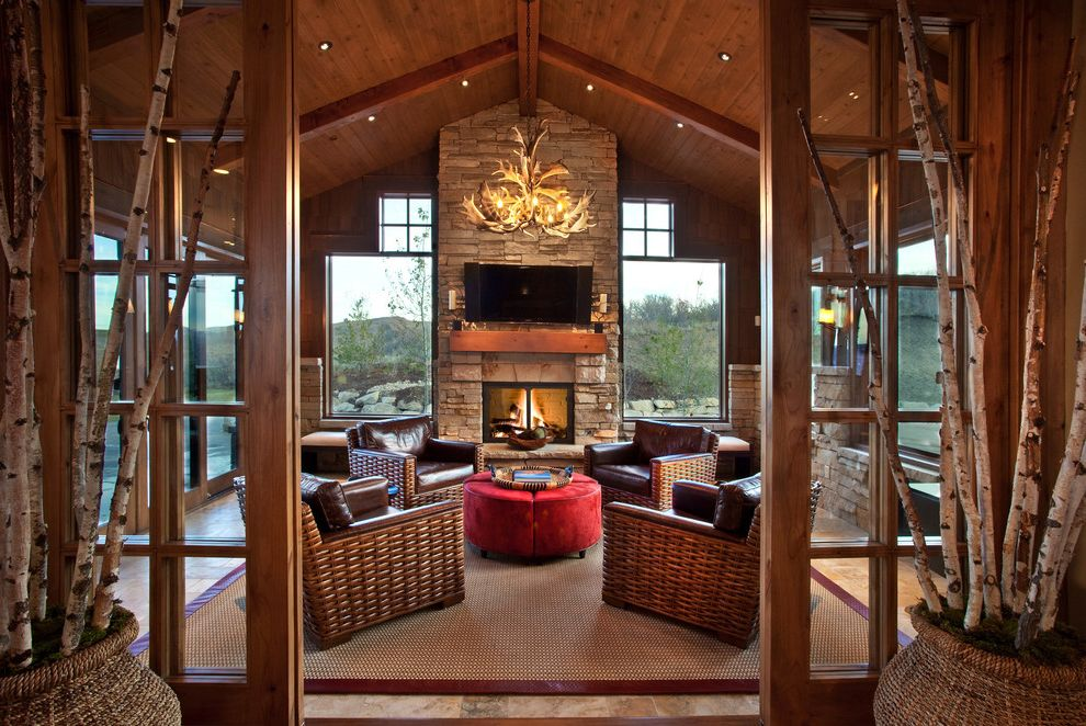 Four Seasons Heating and Cooling Ripoff   Rustic Porch Also Beams Hearth Room High Ceiling Indooroutdoor Pitched Ceiling Recessed Lighting Red Ottoman Wood Ceiling