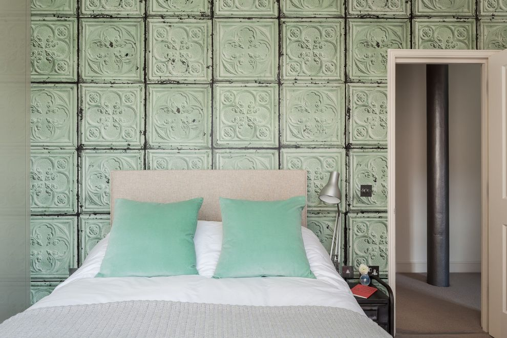 Furniture Warehouse Brooklyn with Contemporary Bedroom  and Anglepoise Lamp Bespoke Wardrobes Industrial Chic Metal Furniture Mint Green Original Steel Girders Tin Tiles Unique Wallpaper Wow Factor