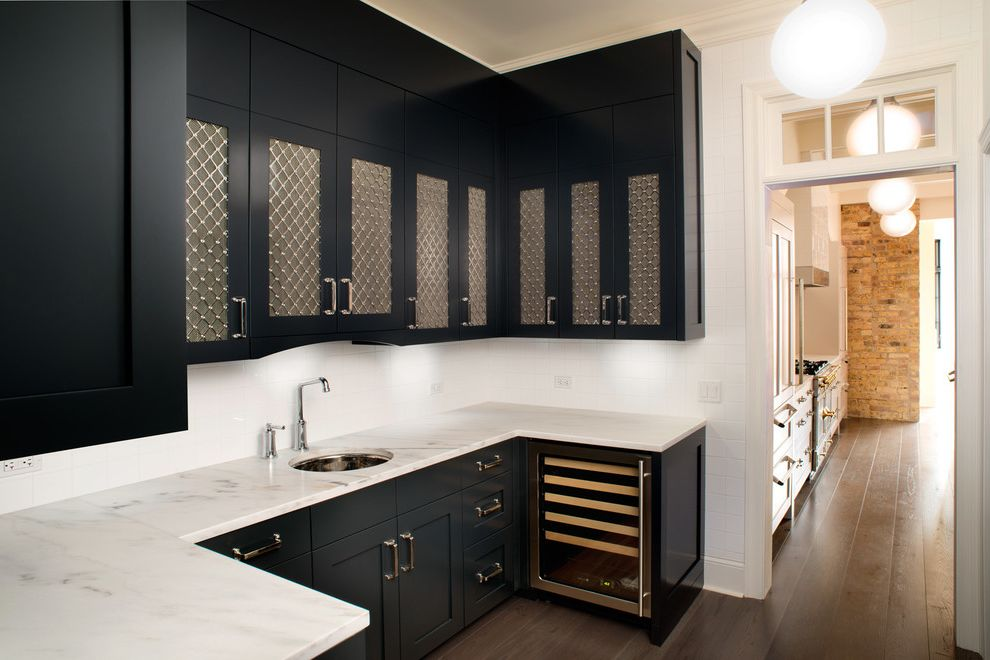 Gas Grill Inserts with Traditional Home Bar Also Black Cabinets Built in Cabinetry Doorway Globe Light Hardwood Floor Home Bar Marble Countertop Nook Undermount Sink Wet Bar White Wall Wine Fridge Wine Storage Wire Mesh Cabinet Doors