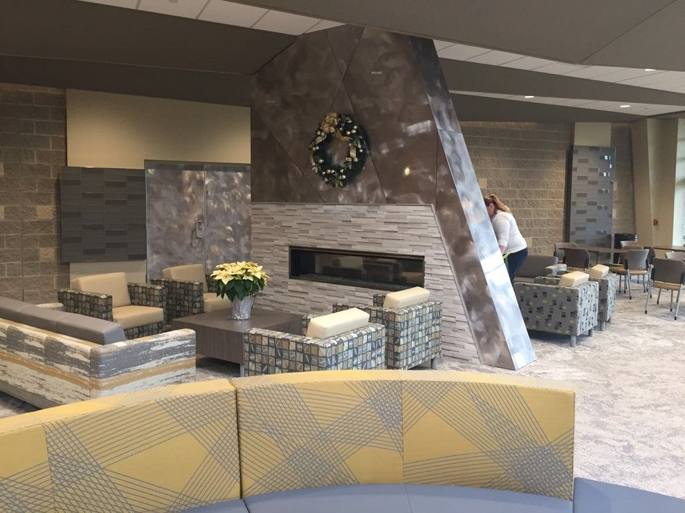 Grace Church Dumfries   Transitional Spaces Also Caesarstone Church Fireplace Lagos Blue Lagosblue Ledgerstone Modern Hall Quartz Transitional Design Transitional Style