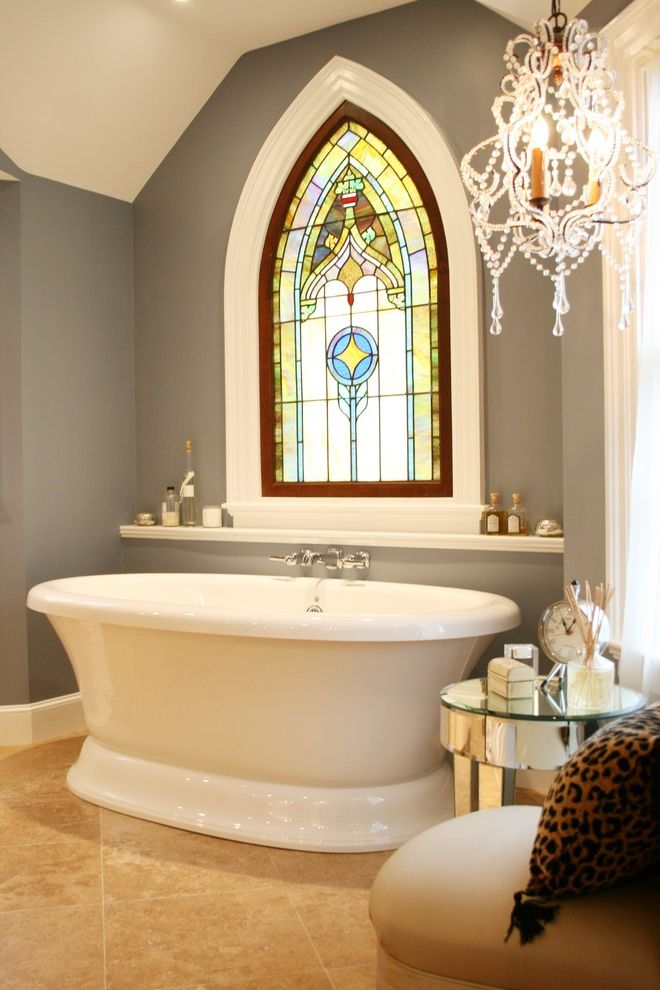 Grace Church Dumfries   Victorian Bathroom Also Addition Air Bath Bathroom Chandelier Classic Decorative Glass Gothic Arch Large Tile Mirrored Table Pedistal Bath Shelf Over Tub Stained Glass Tile Floor Travertine Tile Window