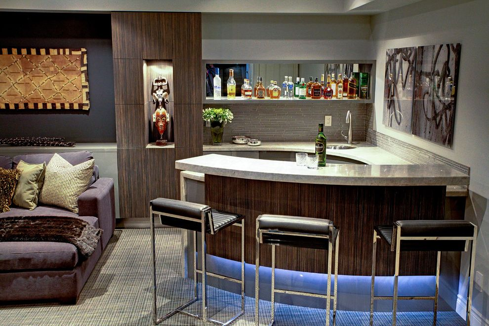 Home Bar Honolulu   Contemporary Home Theater Also Bar Bar Seating Contemporary Corbusier Chaise Corner Bar Exotic Art Collection Floating Shelf for Liquor Display Granite Counter High Gloss Laminate Large Sectional Media Room Wenge Laminate