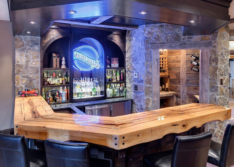 Home Bar Honolulu   Traditional Home Bar  and Bar Entertaining Home Bar Leather Barstools Liquor Storage Party Room Recessed Lighting Stone Walls Wooden Bar