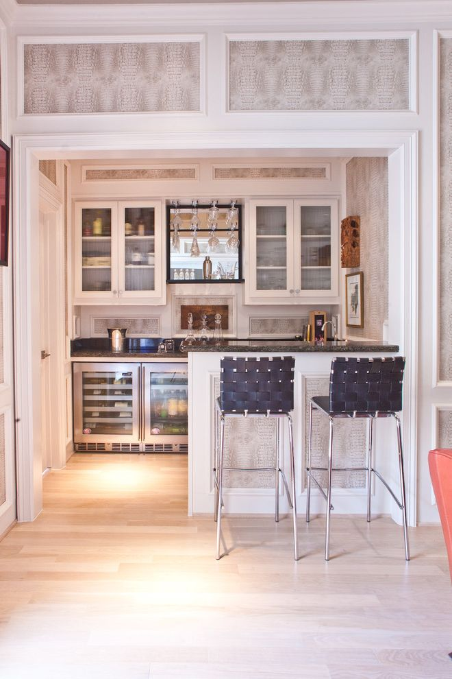 Home Bar Honolulu with Transitional Home Bar Also Bar Bar Refrigerator Bar Sink Bar Stools Home Bar Reptile Wall Covering Stainless Steel Appliances Wet Bar White Trim Wood Floors Woven Bar Stools