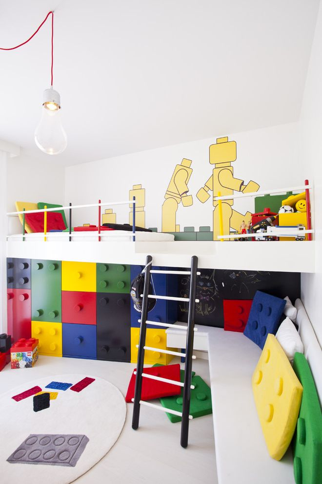 How to Build a Room Addition   Contemporary Kids Also Bare Bulb Pendant Bedroom Built in Furniture Built in Storage Bunk Beds Chalkboard Wall Ladder Legos Loft Playroom Primary Colors Wall Art