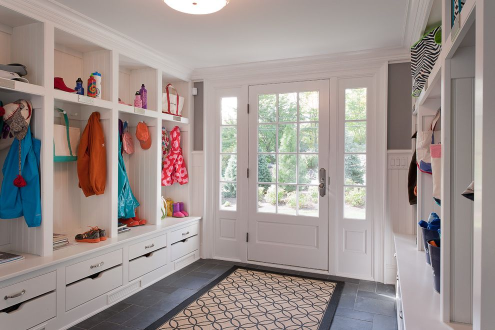 How to Build a Room Addition   Traditional Entry Also Coat Hooks Cubbies Custom Custom Shelves Drawers Entry Entry Rug Entryway Lockers Mudroom Muntins Niches Organization Sidelites Slate Stone Tile Entry Wainscoting