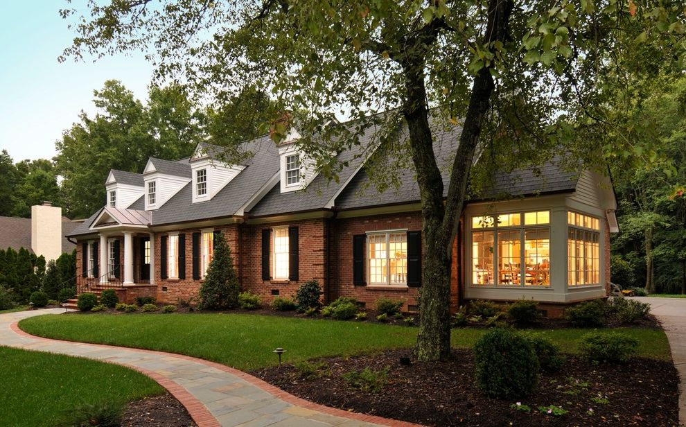 How to Build a Room Addition with Traditional Exterior  and Breakfast Room Brick House Brick Pathway Dormer Windows Entrance Entry Front Door Garden Lighting Grass Lawn Path Portico Sunroom Turf Walkway Window Shutters