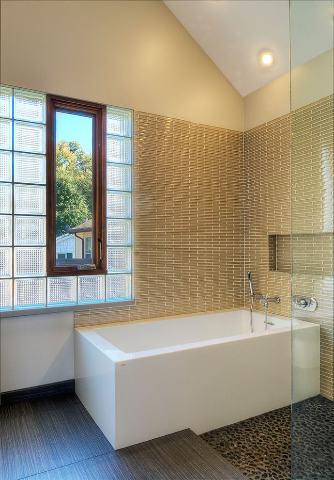 How to Clean a Stained Tub   Modern Bathroom  and Bath Built in Shelf Contemporary Glass Block Glass Wall Pebble Floor Pebble Tile Tile Tiled Wall Tub Vaulted Ceiling Window
