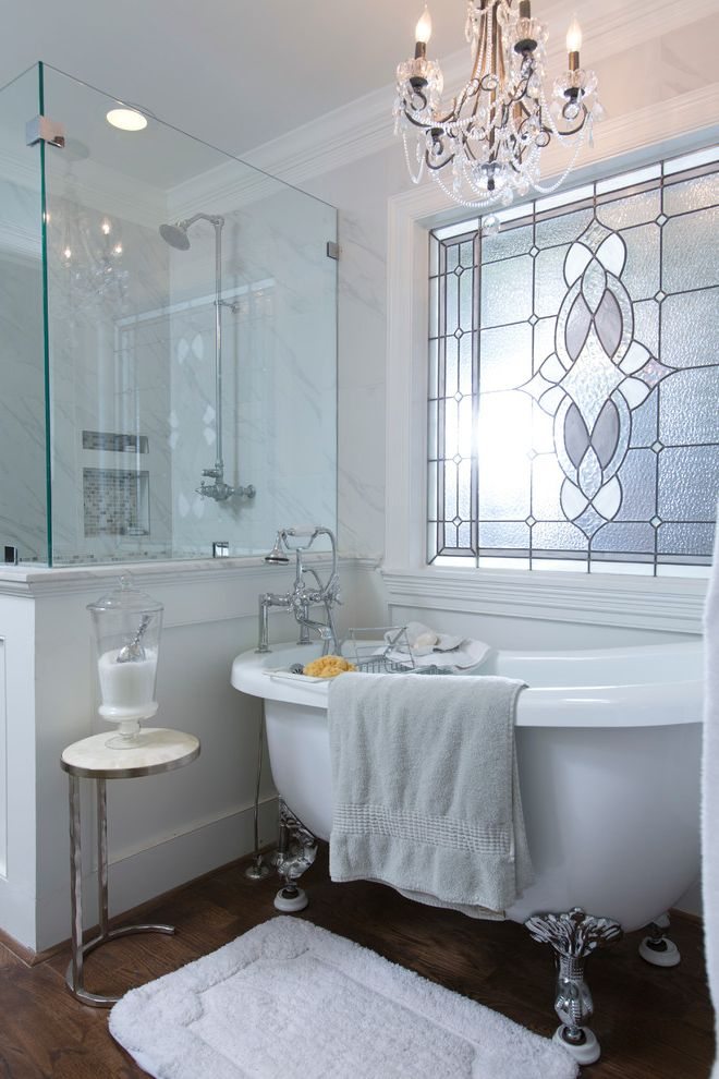 How to Clean a Stained Tub   Victorian Bathroom  and Bath Mat Brushed Nickel Calacutta Chandeliers Elegant Frameless Shower Glass Marble Rohl Stained Glass Window