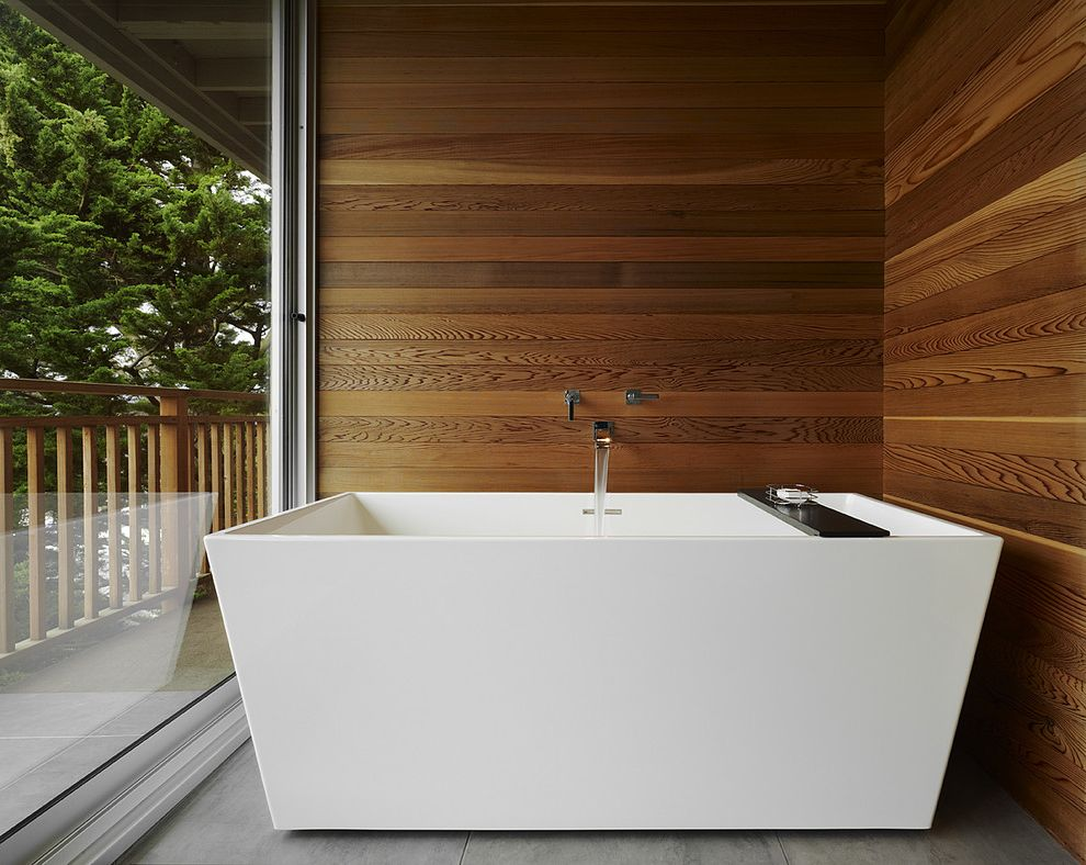 How to Clean a Stained Tub with Modern Bathroom Also Cedar Cedar Panel Wall Floor to Ceiling Window Freestanding Tub View Wall Mount Tub Spout Wet Room