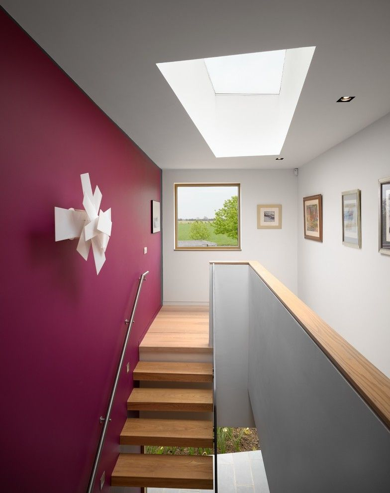 How to Knock Down a Wall with Contemporary Staircase  and Accent Wall Countryside Eco House Framed Artwork Glazing Recessed Lighting Skylight