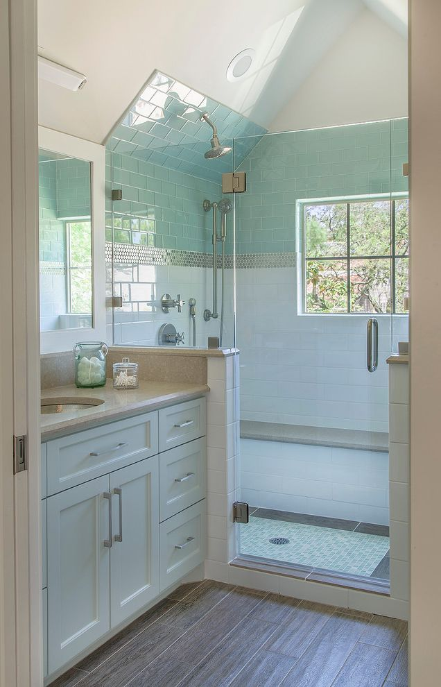 How to Knock Down a Wall with Transitional Bathroom  and Beige Countertop Glass Subway Tile Guest Apartment Light and Airy Natural Light Penny Round Accent Pitched Ceiling Shower Bench Stainless Penny Round