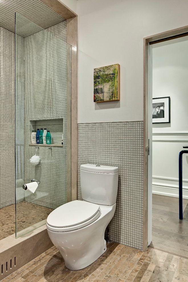 Install Toilet Paper Holder   Contemporary Bathroom  and Clawfoot Tub Compact Bathroom Contemporary Custom Cabinet Custom Millwork Glass Tiles Grey Cabinets Limestone Counter Limestone Floor Small Bathroom Towel Hooks