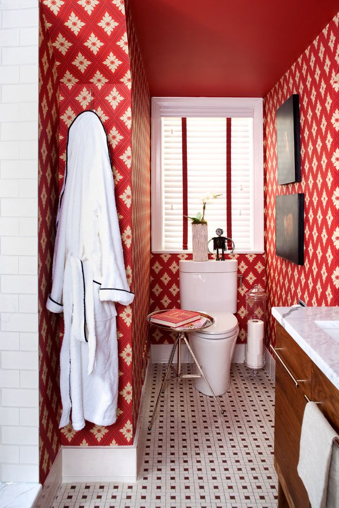 Install Toilet Paper Holder   Eclectic Bathroom  and Black and White Tiled Floor Red Red Wallpaper Side Table Tiled Floor Vanity Wallpaper Window Wood Vanity
