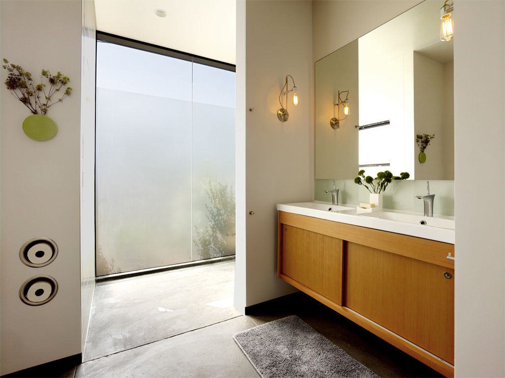 Install Toilet Paper Holder   Modern Bathroom Also Concrete Floor Frosted Glass Frosted Glass Window Large Window Vanity Window Wood Vanity