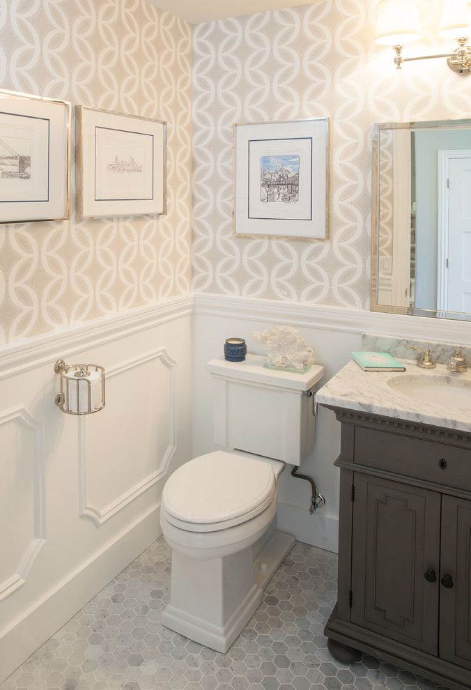 Install Toilet Paper Holder   Traditional Bathroom Also Calcutta Marble Framed Art Framed Mirror Grey Hex Tile Hexagon Tile Wallpaper White Countertop White Wainscoting