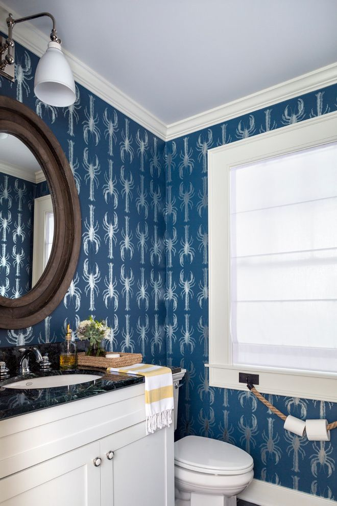 Install Toilet Paper Holder with Beach Style Powder Room Also Blue Wallpaper Lobsters Metallic Wallpaper Nautical Rope Round Mirror Wall Sconce Window