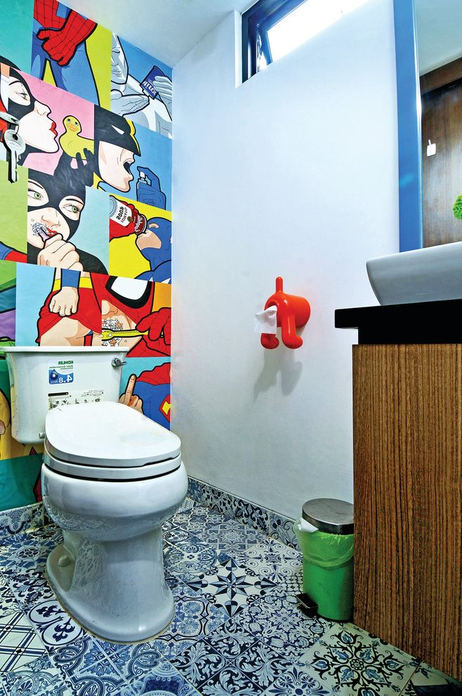 Install Toilet Paper Holder with Contemporary Powder Room Also Blue and White Floor Tile Color Comic Book Wall Art Interior Modern Pop Popretro Red Dog Toilet Paper Holder Retro Transom Window Union Jack Urban Pop Urban Style Vintage