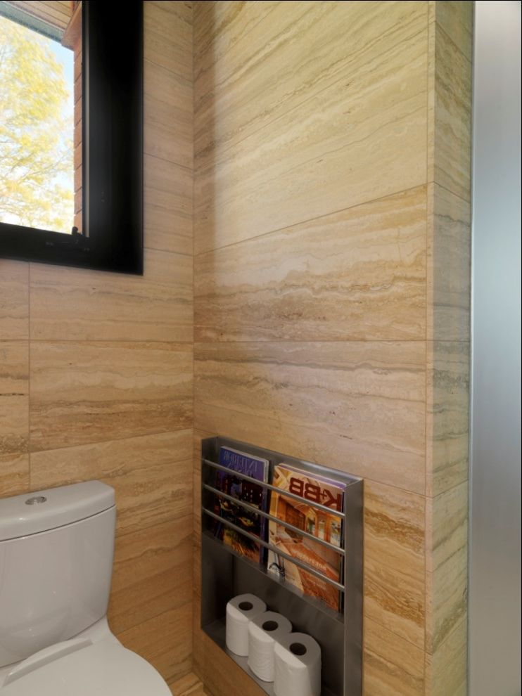 Install Toilet Paper Holder with Rustic Bathroom  and Bathroom Storage Magazine Rack Magazine Storage Stone Tile Tile Wall