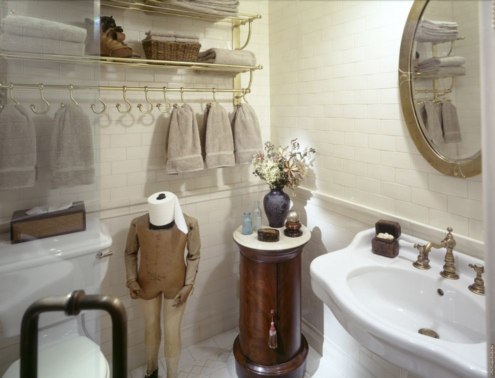 Install Toilet Paper Holder with Traditional Bathroom  and Brass Rack Oval Mirror Pedestal Sink Side Table Subway Tile Toilet Paper Holder White Tile