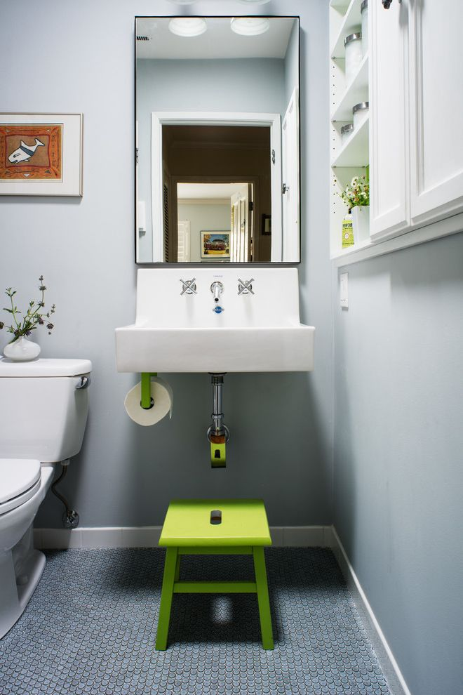 Install Toilet Paper Holder with Transitional Bathroom Also Built in Cabinets Built in White Cabinets Gray Wall Green Step Stool Green Stool Medicine Cabinet Open Shelves Open Shelving Penny Tile Floor Penny Tiles Wall Mounted Sink White Cabinets