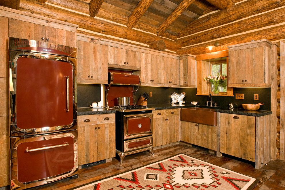 J and J Appliances Tulsa   Rustic Kitchen Also Black Countertop Log Log Cabin Log Home Red Appliances Rustic Wood Small Cabin Wood Beams Wood Ceiling