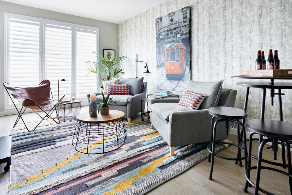 Jordan's Furniture Rugs   Contemporary Living Room Also Bar Stools Butterfly Chair Pair of Chairs Plantation Shutters Pop of Color Porcelain Tile Planks Pub Bistro Tables Round Coffee Table Striped Rug Textured Wall Wallcovering Wallpaper Woven Area Rug