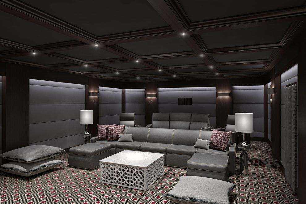 Kanes Furniture Ocala   Contemporary Home Theater  and Basement Design Entertainment Home Interior Media Modern Movie Oly Red Accents Screen Theater Theatre