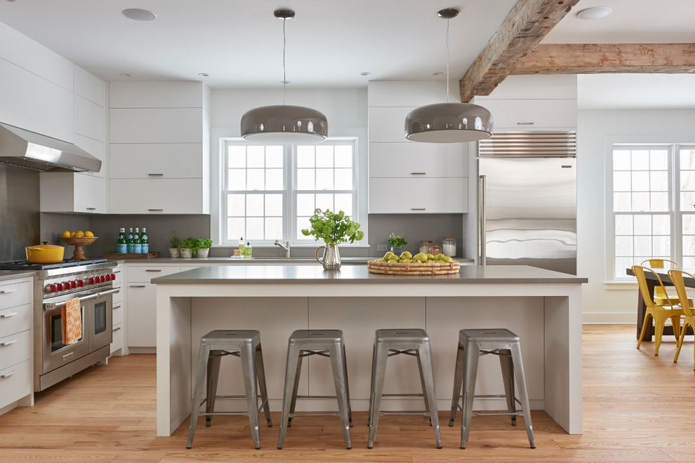 Kenmore Counter Depth Refrigerator   Contemporary Kitchen  and Contemporary Farmhouse Grey Countertop Metal Stools Pendant Lights White Kitchen Windows Wood Beams