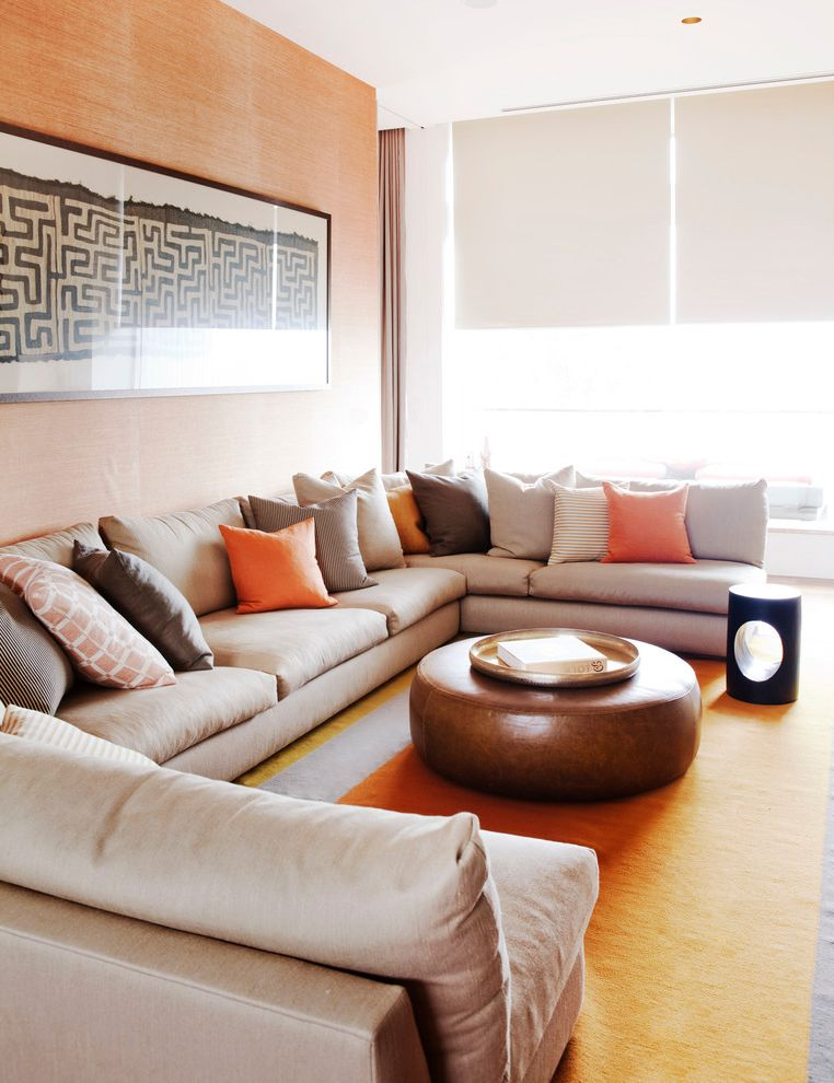 Kidney Shaped Couch   Beach Style Family Room Also Beach Contemporary Artwork Contemporary Furniture Eclectic Grass Cloth Jardan Sofa Large Lounge Leather Ottoman Modern Rustic Sectional Couch Throw Pillows Warm Colour Palette White Roller Shades