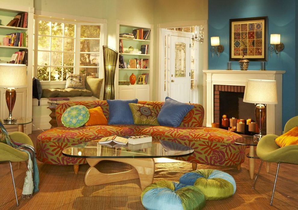 Kidney Shaped Couch   Contemporary Living Room Also Atomic Bay Window Blue Bookshelves Built Ins Fireplace Floor Pillows Funky Glass Lamps Modern Chairs Noguchi Coffee Table Printed Sofa Swan Chairs Teal Throw Pillows Window Seat