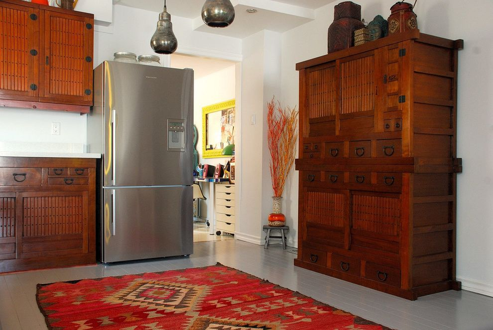 Kitchen Rugs at Target   Asian Kitchen  and Accessories Brown Japanese Cabinets Medium Tone Wood Pendant Lights Red Rug Southwest Rug Stainless Steel Refrigerator Tansu