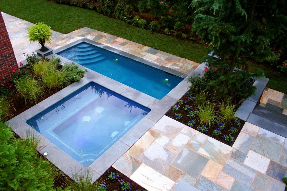 Larry's Pool and Spa   Contemporary Pool Also Aeriel View Backyard Pool Bergen County Glass Tile Northern Nj Pool Pool Design Pool Steps Rectangular Pool Small Pool Spa Spa Design Spa Installation Square Spa Stone Patio Surround Swimming Pool Unique Pool