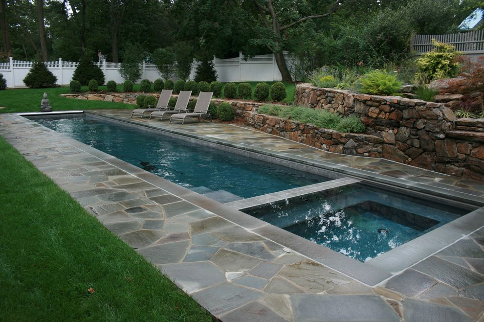 Larry's Pool and Spa   Traditional Pool Also Buddha Statue Chaise Lounge Garden Art Grass Hot Tub Jacuzzi Lap Pool Lawn Patio Patio Furniture Planters Pool Deck Retaining Walls Spa Stone Paving Stone Wall Terrace Turf Wood Fencing