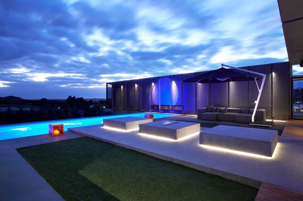 Led Dusk to Dawn Outdoor Lights   Contemporary Pool Also Backlighting Gas Fire Hanging Patio Umbrella Industrial Outdoor Couch Outdoor Fireplace Rectilinear Pool Sleek