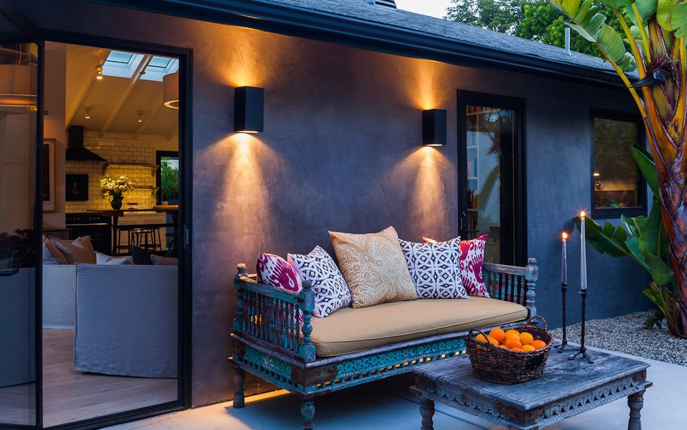 Led Dusk to Dawn Outdoor Lights with Traditional Patio  and Beasket Bohemian Candlesticks Coffee Table Eclectic Exotic Bench Glass Door Moroccan Outdoor Lighting Patio Prints Throw Pillows