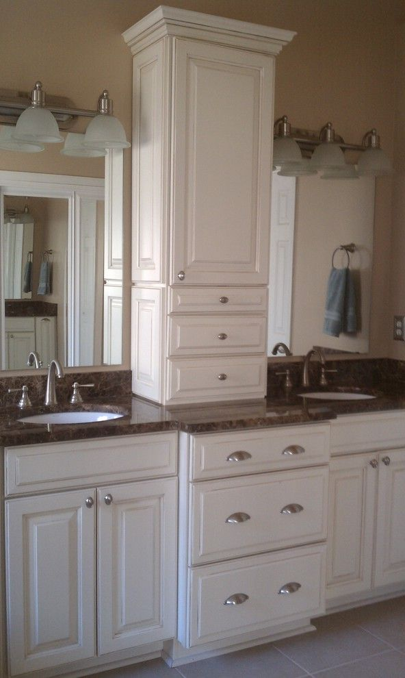 Liberty Towers Tulsa   Traditional Bathroom  and Center Cabinet Center Storage Double Vanity His and Hers Tower Two Mirrors