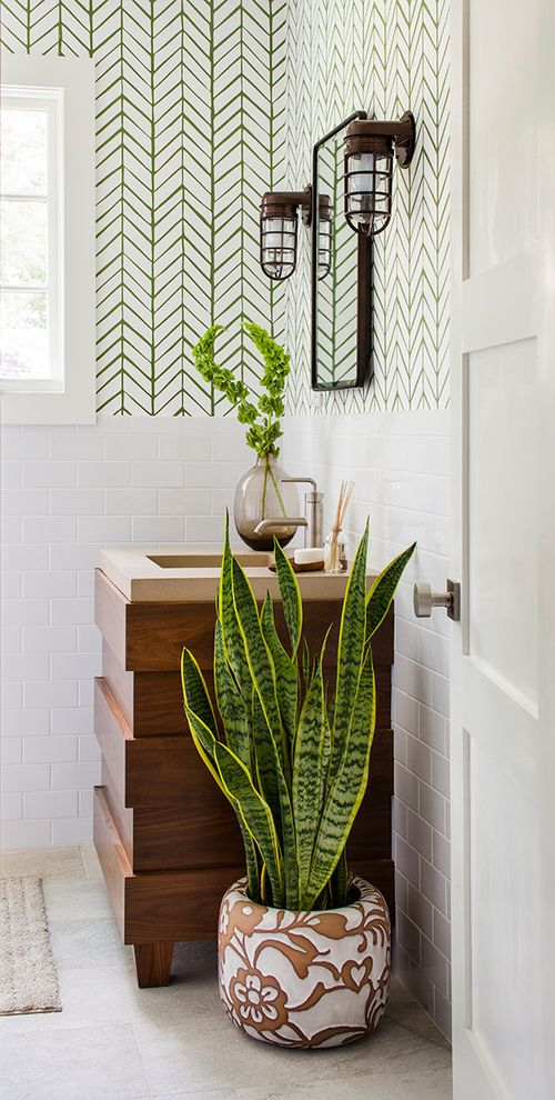 Lowes Air Filters with Transitional Bathroom  and 3x6 Subway Tile Anthropologie Bathroom Clean Concrete Custom Cabinetry Fresh Green and White Wallpaper Nautical Sconces Tile Wainscoting Wallpaper Walnut Veneer
