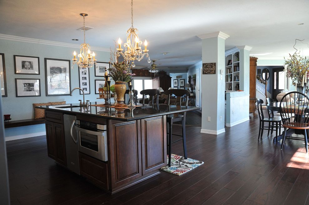 Lowes Engineered Flooring   Traditional Kitchen  and Barstools Bench Seating Bigger Space Chandelier Custom Pantry French Flair Gallery Wall Kitchen Island Kitchen Remodel Large Island Painted Walls Wood Floors