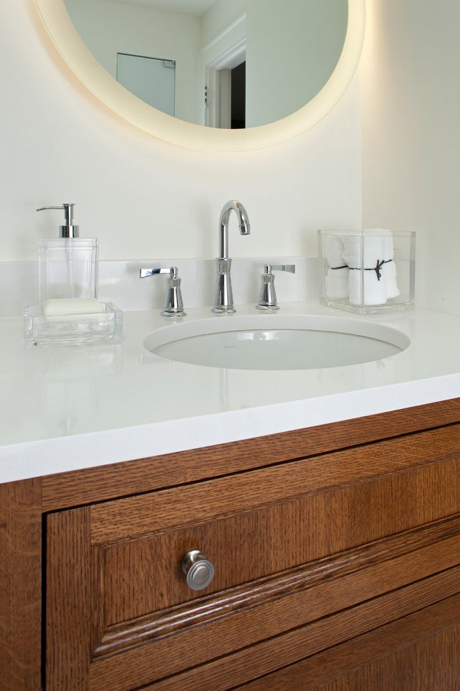 Lucite Containers   Contemporary Bathroom  and Back Lit Mirror Cambria Whitehall Countertop Inset Style Vanity Lighted Mirror Lucite Bath Accessories Quartersawn Oak White Oak Cabinetry