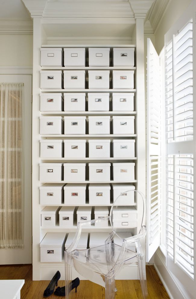 Lucite Containers   Contemporary Closet  and Beige Molding Beige Trim Beige Wall Clear Armchair Lucite Armchair Natural Lighting Plantation Shutters Sheer Curtains Shoe Boxes Shoe Closet Shoe Storage Stacked Shoe Boxes Wood Floor